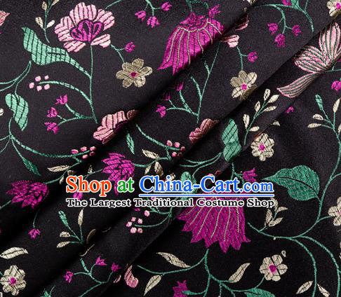 Asian Chinese Classical Embroidered Flowers Pattern Design Black Satin Fabric Brocade Traditional Drapery Silk Material