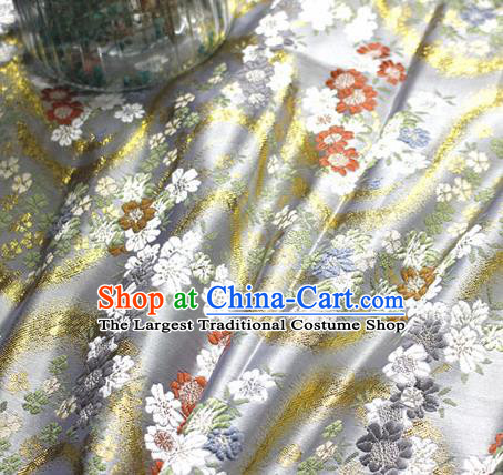Asian Japanese Kimono White Satin Fabric Classical Sakura Pattern Design Brocade Traditional Drapery Silk Material