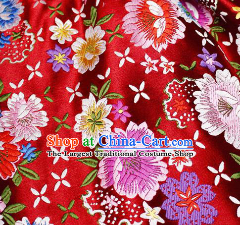 Asian Chinese Classical Peony Pattern Design Red Satin Fabric Brocade Traditional Drapery Silk Material
