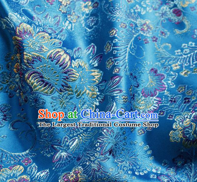 Asian Chinese Classical Flowers Pattern Design Lake Blue Satin Fabric Brocade Traditional Drapery Silk Material