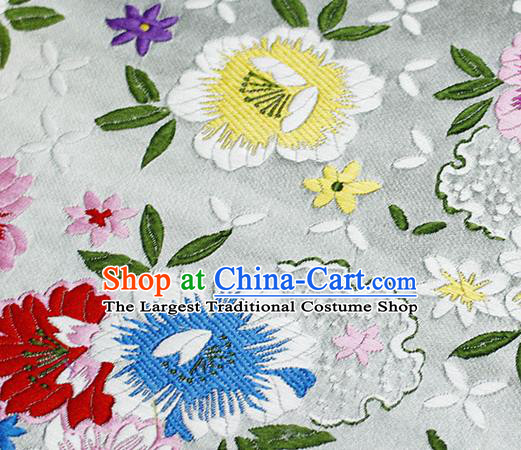Asian Chinese Classical Peony Pattern Design White Satin Fabric Brocade Traditional Drapery Silk Material