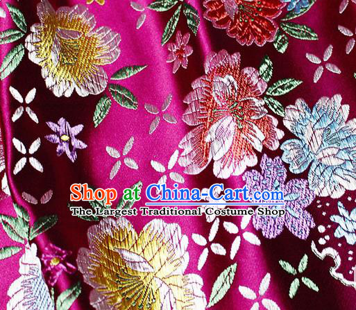 Asian Chinese Classical Peony Pattern Design Rosy Satin Fabric Brocade Traditional Drapery Silk Material