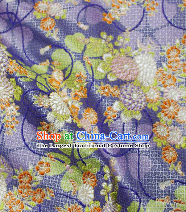 Asian Japanese Kimono Purple Satin Fabric Classical Pattern Design Brocade Traditional Drapery Silk Material