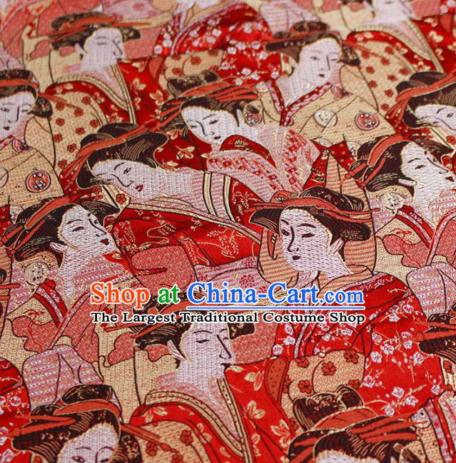 Asian Japanese Kimono Red Satin Fabric Classical Geisha Pattern Design Brocade Traditional Drapery Silk Material