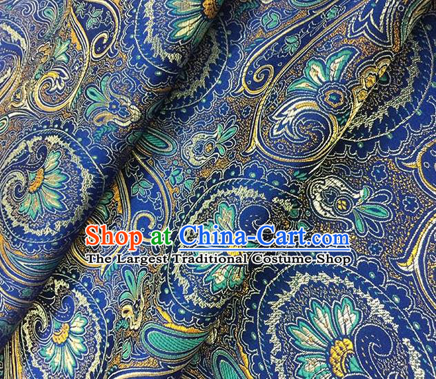Chinese Classical Machetes Lantern Pattern Design Blue Satin Fabric Brocade Asian Traditional Drapery Silk Material