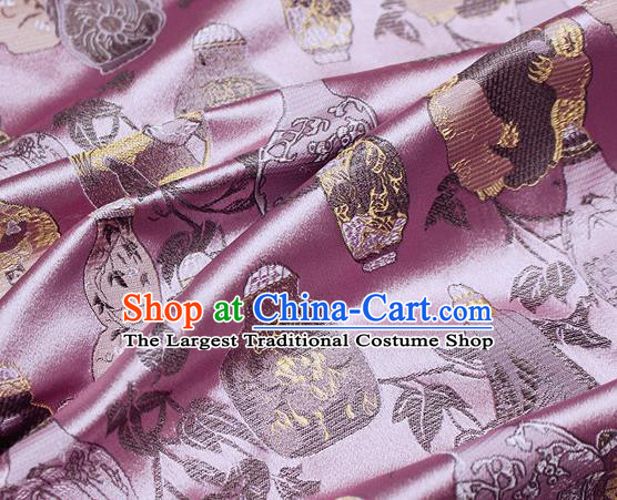 Chinese Classical Vase Pattern Design Pink Satin Fabric Brocade Asian Traditional Drapery Silk Material