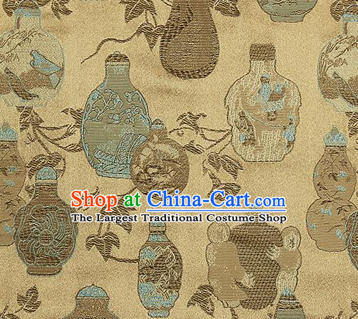 Chinese Classical Vase Pattern Design Yellow Satin Fabric Brocade Asian Traditional Drapery Silk Material