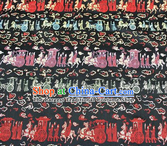 Chinese Classical Royal Pattern Design Black Satin Fabric Brocade Asian Traditional Drapery Silk Material