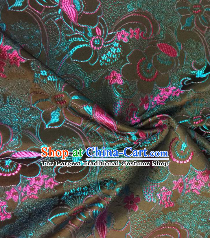Chinese Classical Fish Lotus Pattern Design Satin Fabric Brocade Asian Traditional Drapery Silk Material