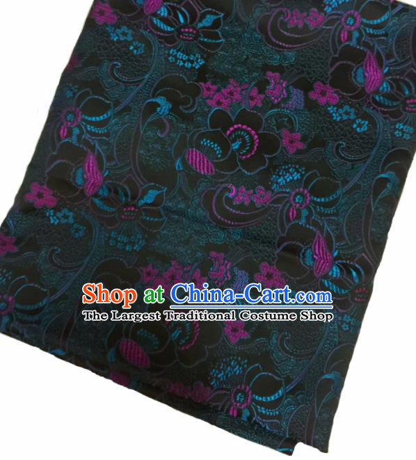 Chinese Classical Fish Lotus Pattern Design Brown Satin Fabric Brocade Asian Traditional Drapery Silk Material