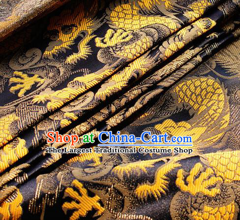 Asian Japanese Kimono Black Satin Fabric Classical Dragon Pattern Design Brocade Traditional Drapery Silk Material