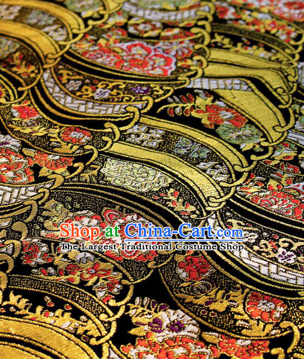 Asian Japanese Kimono Satin Fabric Classical Pattern Design Brocade Damask Traditional Drapery Silk Material