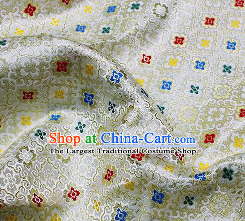 Asian Japanese Kimono Satin Fabric Classical Pattern Design White Brocade Damask Traditional Drapery Silk Material