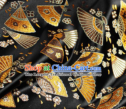 Asian Japanese Classical Fans Pattern Design Black Brocade Kimono Satin Fabric Damask Traditional Drapery Silk Material