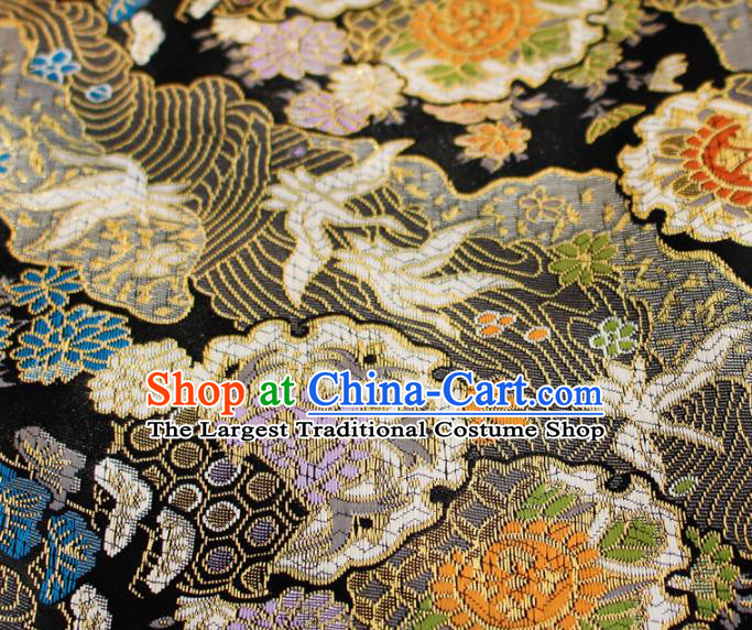Asian Japanese Kimono Satin Fabric Classical Sunflowers Pattern Design Black Brocade Damask Traditional Drapery Silk Material
