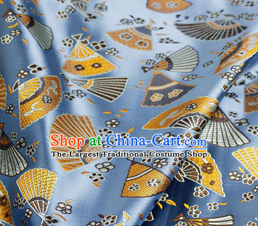 Asian Japanese Classical Fans Pattern Design Blue Brocade Kimono Satin Fabric Damask Traditional Drapery Silk Material