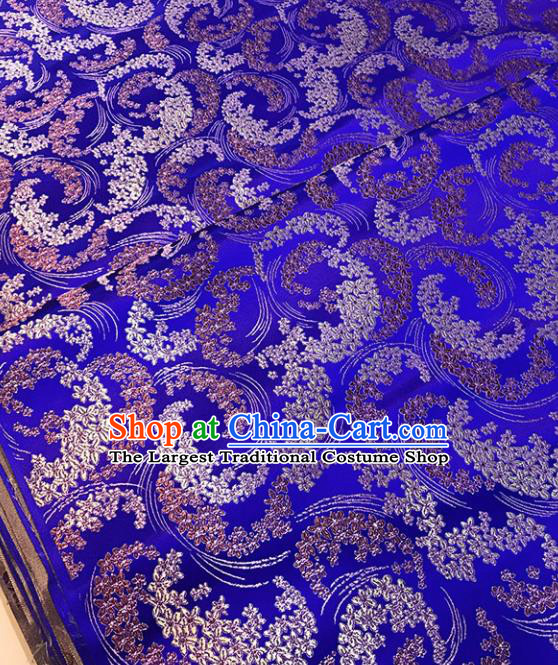 Chinese Tang Suit Royalblue Brocade Classical Wisteria Pattern Design Satin Fabric Asian Traditional Drapery Silk Material