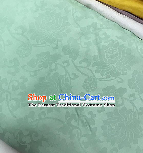 Chinese Tang Suit Green Brocade Classical Lotus Pattern Design Satin Fabric Asian Traditional Drapery Silk Material