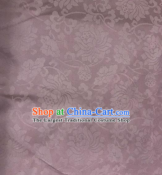 Chinese Tang Suit Lilac Brocade Classical Lotus Pattern Design Satin Fabric Asian Traditional Drapery Silk Material