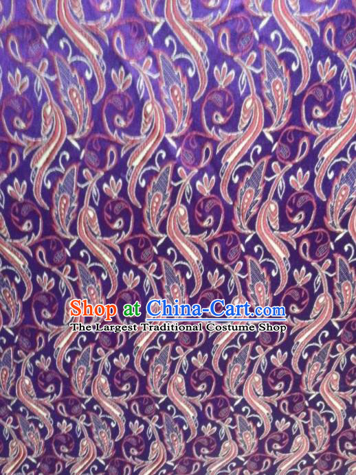 Chinese Classical Pattern Design Satin Fabric Tang Suit Purple Brocade Asian Traditional Drapery Silk Material