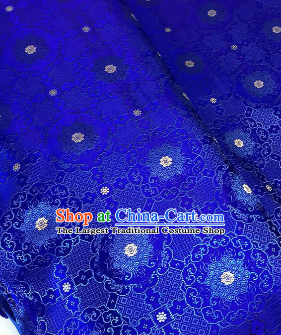 Chinese Tang Suit Royalblue Brocade Classical Buddhism Lotus Pattern Design Satin Fabric Asian Traditional Drapery Silk Material