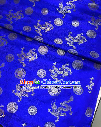 Chinese Tang Suit Royalblue Brocade Classical Dragons Pattern Design Satin Fabric Asian Traditional Drapery Silk Material
