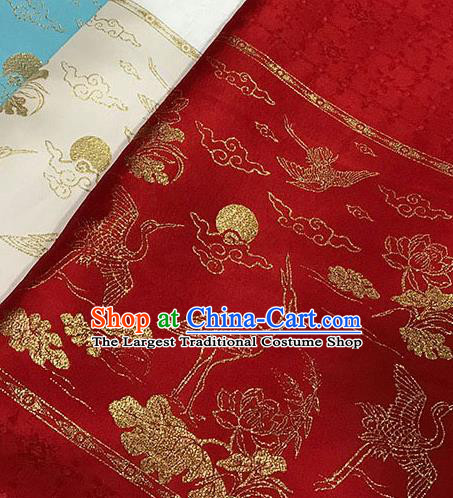 Chinese Hanfu Dress Red Brocade Classical Crane Lotus Pattern Design Satin Fabric Asian Traditional Drapery Silk Material