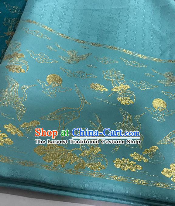 Chinese Hanfu Dress Blue Brocade Classical Crane Lotus Pattern Design Satin Fabric Asian Traditional Drapery Silk Material