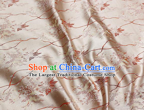 Chinese Classical Pattern Design Champagne Satin Fabric Brocade Asian Traditional Drapery Silk Material