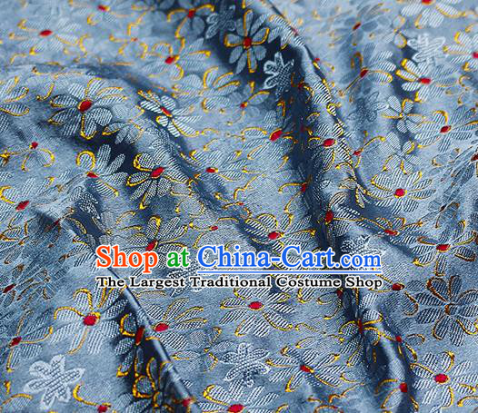Chinese Classical Pattern Design Blue Satin Fabric Brocade Asian Traditional Drapery Silk Material