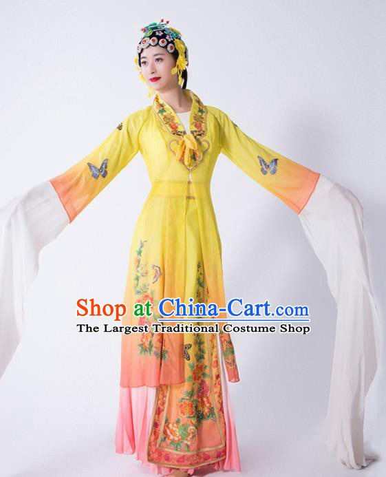 Chinese Traditional Dance Yellow Dress Classical Dance Water Sleeve Beijing Opera Costume for Women