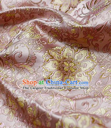 Chinese Classical Lotus Pattern Design Pink Satin Fabric Brocade Asian Traditional Drapery Silk Material