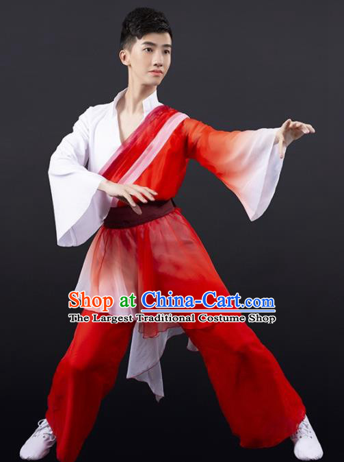 Chinese Traditional National Dance Clothing Classical Dance Stage Performance Red Costume for Men