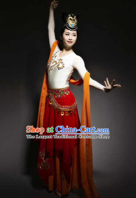 Chinese Traditional Dance Bichunmoo Red Dress Classical Dance Stage Performance Costume for Women