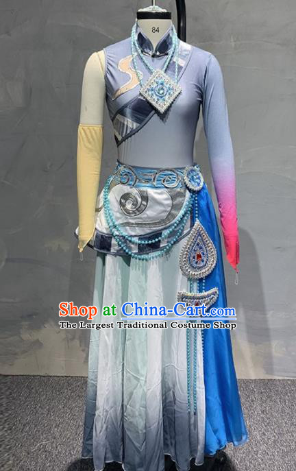 Chinese Traditional Dance Grey Dress Classical Dance Stage Performance Costume for Women
