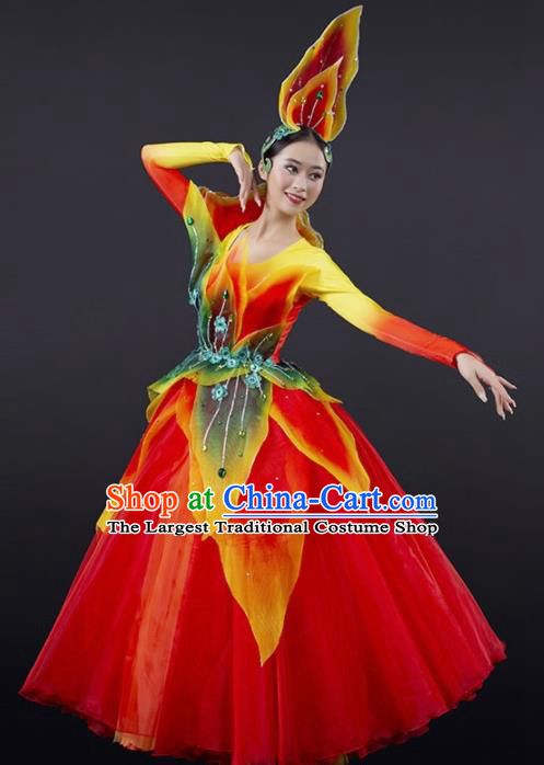 Chinese Spring Festival Gala Modern Dance Red Dress Opening Dance Stage Performance Costume for Women