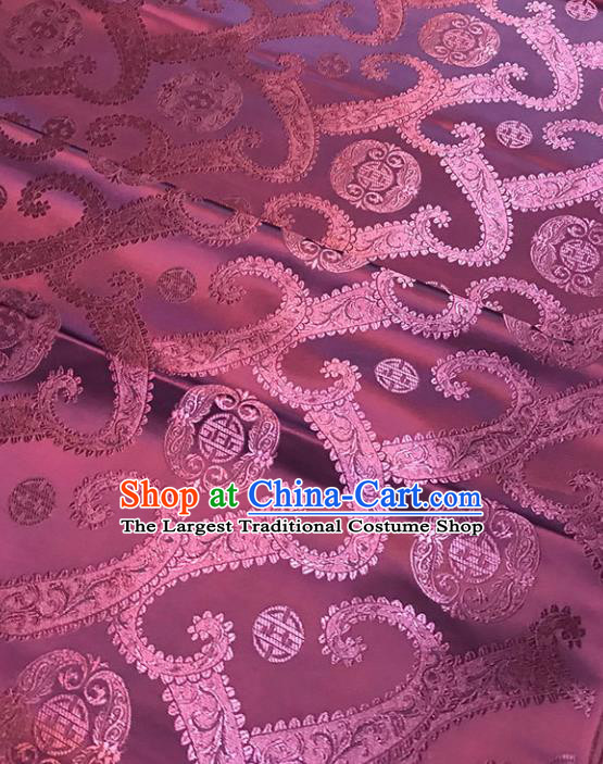 Chinese Tang Suit Purple Brocade Classical Twine Pattern Design Satin Fabric Asian Traditional Drapery Silk Material