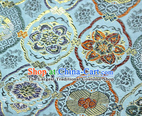 Asian Japanese Kimono Satin Fabric Classical Pattern Design Blue Brocade Damask Traditional Drapery Silk Material