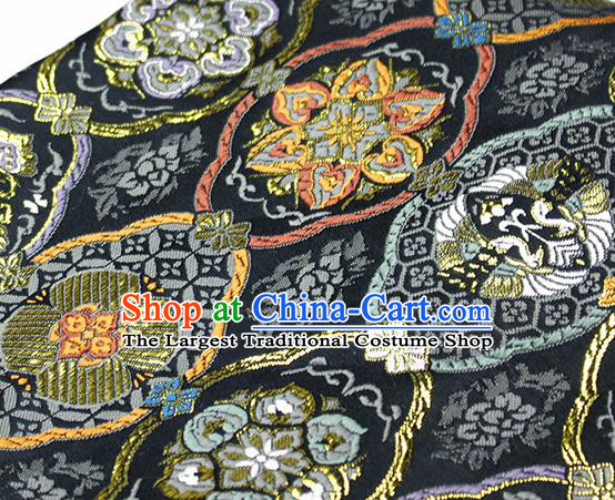 Asian Japanese Kimono Satin Fabric Classical Pattern Design Black Brocade Damask Traditional Drapery Silk Material