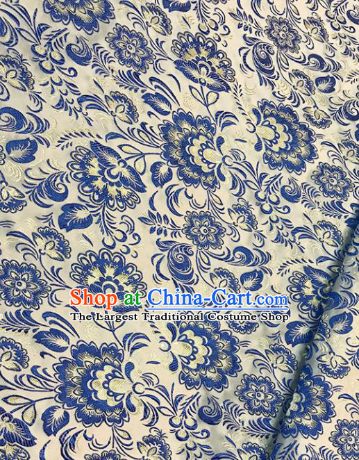 Chinese Tang Suit White Brocade Classical Hibiscus Pattern Design Satin Fabric Asian Traditional Drapery Silk Material