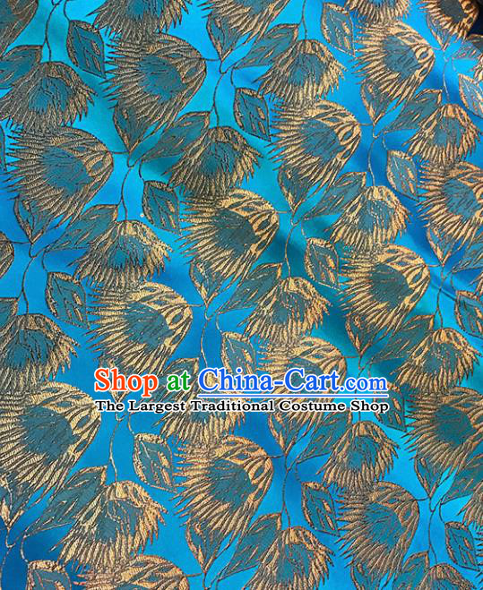 Chinese Tang Suit Blue Brocade Classical Pattern Design Satin Fabric Asian Traditional Drapery Silk Material