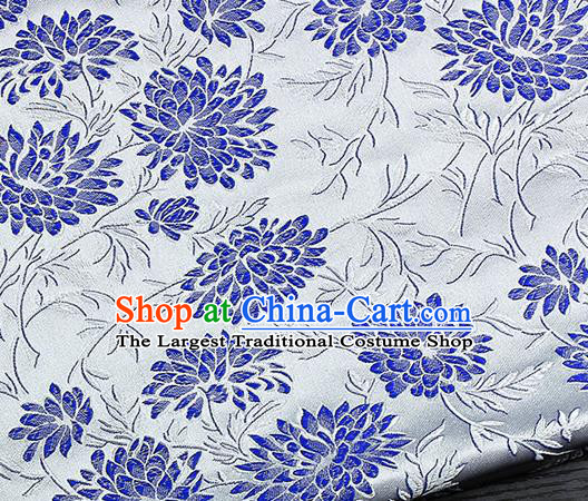 Chinese Classical Hibiscus Pattern Design White Satin Fabric Brocade Asian Traditional Drapery Silk Material