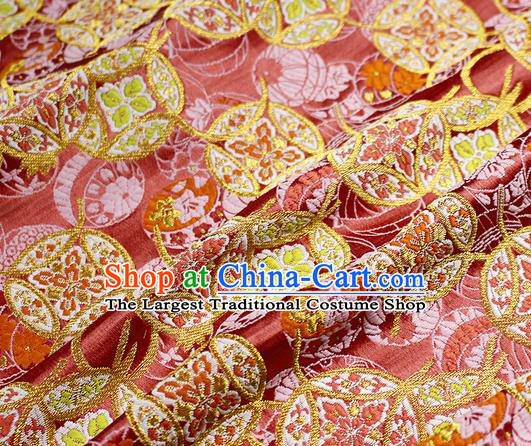 Asian Japanese Kimono Satin Fabric Classical Copper Pattern Design Pink Brocade Damask Traditional Drapery Silk Material