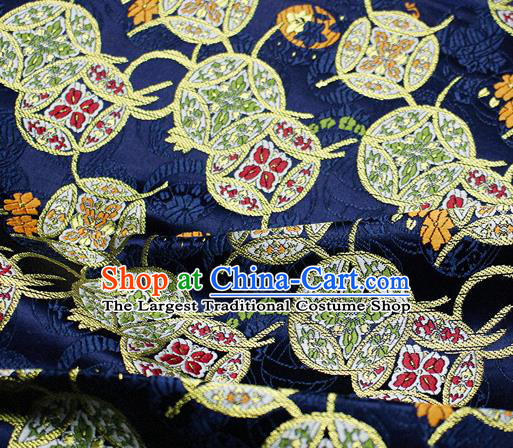 Asian Japanese Kimono Satin Fabric Classical Copper Pattern Design Navy Brocade Damask Traditional Drapery Silk Material