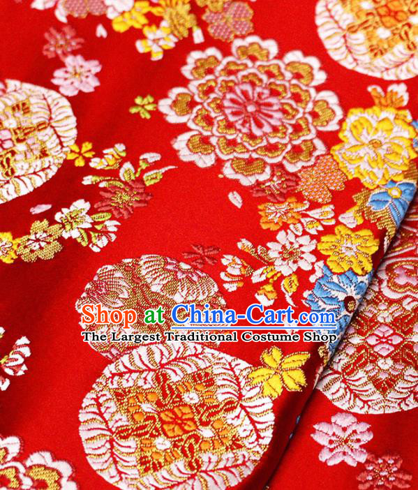 Asian Japanese Kimono Satin Fabric Classical Copper Pattern Design Red Brocade Damask Traditional Drapery Silk Material