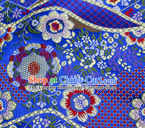 Asian Japanese Classical Flowers Pattern Design Royalblue Brocade Kimono Satin Fabric Damask Traditional Drapery Silk Material