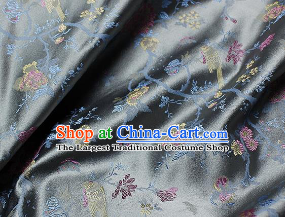 Chinese Classical Flowers Bird Pattern Design Grey Satin Fabric Brocade Asian Traditional Drapery Silk Material