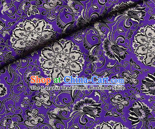 Chinese Classical Rosette Pattern Design Purple Satin Fabric Brocade Asian Traditional Drapery Silk Material