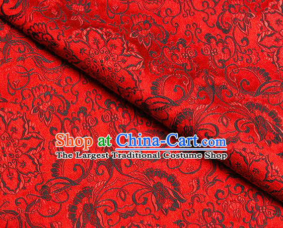 Chinese Classical Rosette Pattern Design Red Satin Fabric Brocade Asian Traditional Drapery Silk Material