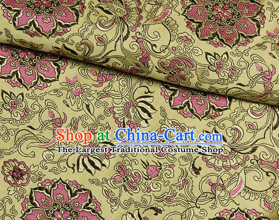 Chinese Classical Rosette Pattern Design Yellow Satin Fabric Brocade Asian Traditional Drapery Silk Material